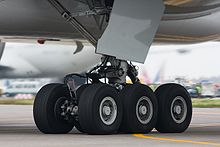 Airplane Picture - The six-wheel undercarriage of a Boeing 777-300