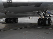 Airplane Picture - The 4 wheel landing gear bogies on a 707-120