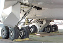 Airplane Picture - Closeup of the 747 prototype's 16 wheel main undercarriage