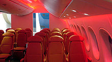Airplane Picture - Interior mockup photo showing windows and LED mood lighting options for the 787 Dreamliner.