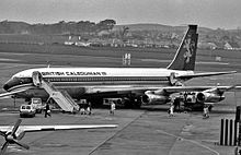 Airplane Picture - British Caledonian Boeing 707 shown at Glasgow Prestwick Airport, South Ayrshire, Scotland, c. 1972.