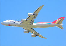 Airplane Picture - Cargolux's first Boeing 747-8F in flight over Fresno, California