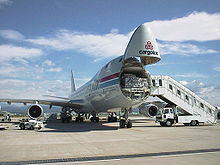 Airplane Picture - Cargolux 747-400F with the nose loading door open