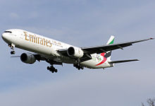 Airplane Picture - An Emirates 777-300 landing at London Heathrow Airport