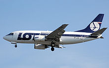 Airplane Picture - LOT Polish Airlines 737-500 landing at London Heathrow Airport