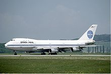Airplane Picture - Pan Am was the first airline to operate the 747. The 747-100 pictured shows the original size of the upper deck and window layout