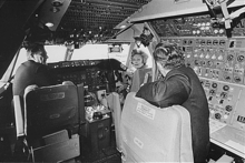 Airplane Picture - First Lady Pat Nixon visits the cockpit of the first commercial 747 during the christening ceremony, January 15, 1970.
