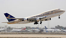 Airplane Picture - Saudi Arabian Airlines 747-400 on takeoff from Jinnah International Airport, Karachi