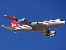 Airplane Picture - An ex-Qantas Boeing 707-138B, owned by John Travolta, repainted in vintage Qantas livery