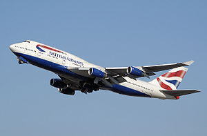 Airplane Picture - British Airways Boeing 747-400 during takeoff