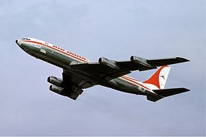 Airplane Picture - Air India 707-320B takeoff at Basel, Switzerland in 1976.