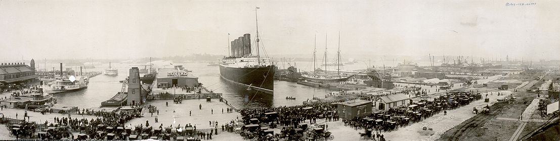 World War 1 Picture - The Lusitania at the end of the first leg of her maiden voyage, New York City, September 1907. (The photo was taken with a panoramic camera.)