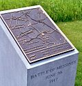 World War 1 Picture - Bronze plaque overview of the Battle of Messines assault on 7 June 1917