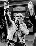 World War 1 Picture - A woman acknowledges incoming German troops with tears and the Nazi salute, Sudetenland, 1938. This image was used by the Nazis and the Allies, depicting the woman crying with either joy or sadness respectively.