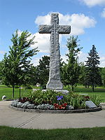 World War 1 Picture - The Cross of Sacrifice dedicated to the memory of Arthur Currie at the Last Post Fund National Field of Honour.