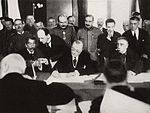 World War 1 Picture - Alexandru Marghiloman signing the Treaty of Bucharest in 1918