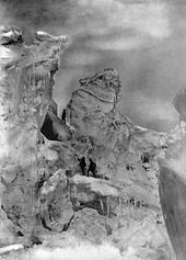 World War 1 Picture - The Duke and his guides climbing an icefall on Chogolisa in 1909.