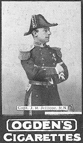 World War 1 Picture - Jellicoe as Captain, in command of H.M.S. Centurion, flagship on the China Station (his depiction on an a contemporary cigarette card shows he was in the public eye long before becoming an admiral).