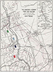 World War 1 Picture - Position of the defending and attacking forces before the battle
