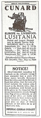 World War 1 Picture - The official warning issued by the Imperial German Embassy about travelling on Lusitania.