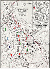 World War 1 Picture - The Canadian Corps plan of attack outlining the four coloured objective lines - Black, Red, Blue and Brown