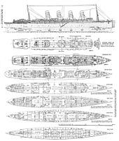 World War 1 Picture - Deck plans of Lusitania. Changes were made both during construction and later. By 1915 the Lifeboat arrangement had been changed to 11 fixed boats either side plus collapsible boats stored under each lifeboat and on the after deck.