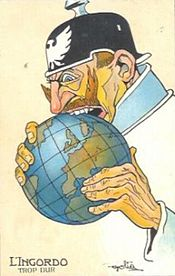 World War 1 Picture - French Propaganda Postcard from the World War I era showing a caricature of Wilhelm II biting into the world. The text reads