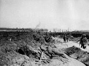 World War 1 Picture - Road to Pozieres: In the distance the village of Contalmaison is under German shellfire.
