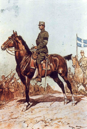 World War 1 Picture - King Constantine I during the Second Balkan War, by Georges Scott.