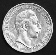 World War 1 Picture - Silver 5 mark coin of Wilhelm II.