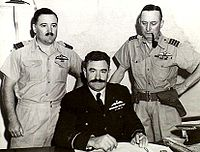 World War 1 Picture - Group Captain Cobby (right) takes over North-Eastern Area from Air Commodore Frank Lukis (centre) in Townsville, Queensland, August 1942