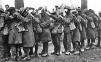 World War 1 Picture - British 55th (West Lancashire) Division troops blinded by tear gas during the Battle of Estaires, 10 April 1918.