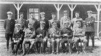 World War 1 Picture - The Central Flying School staff in January 1913. Paine is in the front row, shown third from the left.