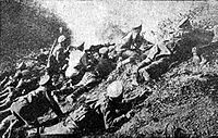 World War 1 Picture - Bulgarian troops counterattack at Yarebichna Peak in 1917