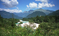 World War 1 Picture - The Soča, location of the initial attacks at Kobarid (Caporetto).