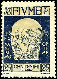 World War 1 Picture - D'Annunzio on a postage stamp of Fiume, 1920