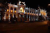 World War 1 Picture - Al. I. Cuza University building at night