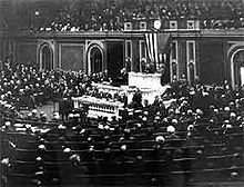 World War 1 Picture - Woodrow Wilson's Speech in Congress: January 8, 1918.