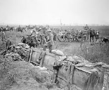 World War 1 Picture - British 18 pounder battery taking up new positions near Boesinghe, 31 July