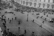World War 1 Picture - A scene from the July Days. The army has just opened fire on street protesters.