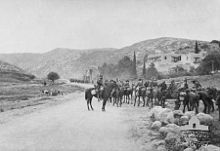 World War 1 Picture - The 4th Light Horse Regiment entering mountain passes near Latron
