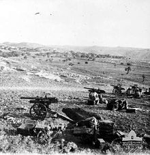 World War 1 Picture - Hong Kong mountain gun battery in action near Beit Ur el Tahta