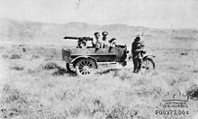 World War 1 Picture - Model T Ford Utility with Vickers .303 machine gun mounted on a tripod