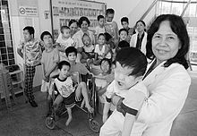 World War 1 Picture - Handicapped Vietnamese children. Vietnam claims that the use of Agent Orange and other herbicides by the U.S. during the Vietnam War increased the number of birth defects.[41]