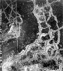 World War 1 Picture - Aerial view of opposing trench lines between Loos and Hulluch, July 1917. German trenches at the right and bottom, British at the top-left.