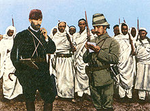 World War 1 Picture - Binbaşı Mustafa Kemal Bey (left) with a Turkish military officer and Bedouin forces in Darnah, Tripolitania Vilayet, 1912.