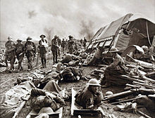World War 1 Picture - Wounded men at the side of a road after the Battle of Menin Road