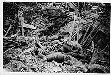 World War 1 Picture - German trench destroyed by a mine explosion.