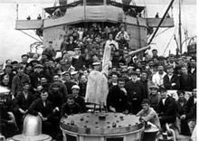 World War 1 Picture - Some of the survivors aboard HMS Scourge