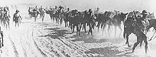 World War 1 Picture - British infantry advancing through Mesopotamia near the Tigris river in 1916.